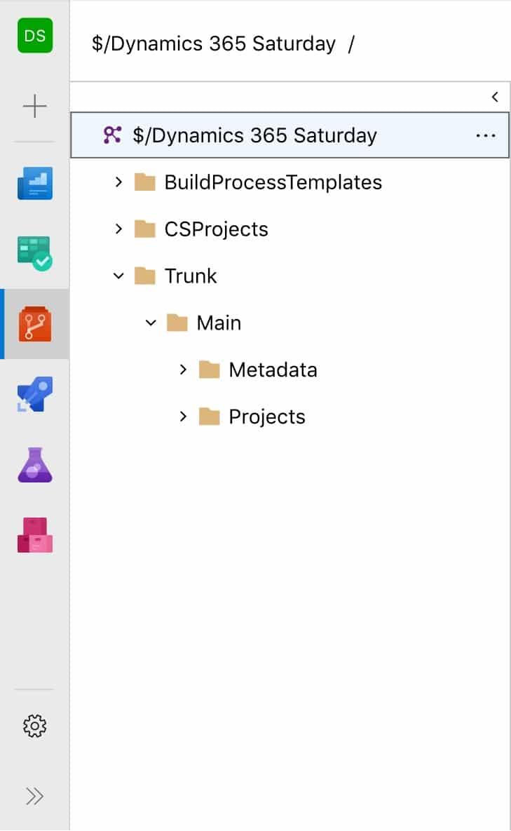 Carpetas en proyecto de Azure DevOps