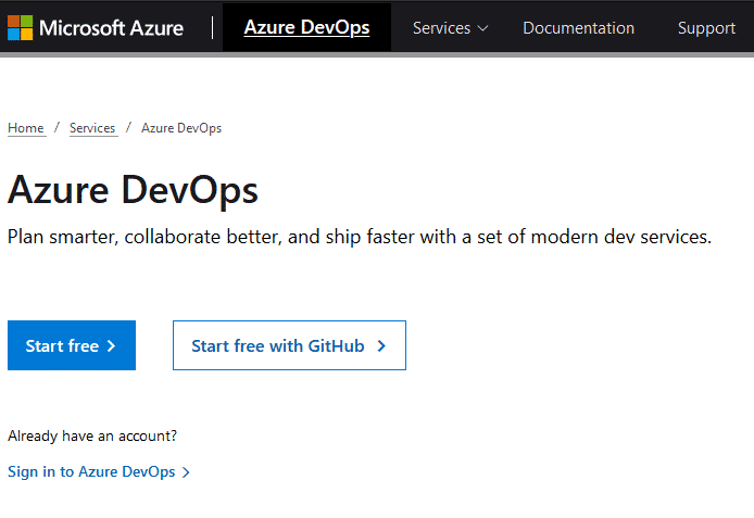 Azure DevOps sign up