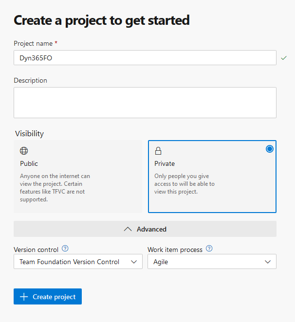 Create Azure DevOps project