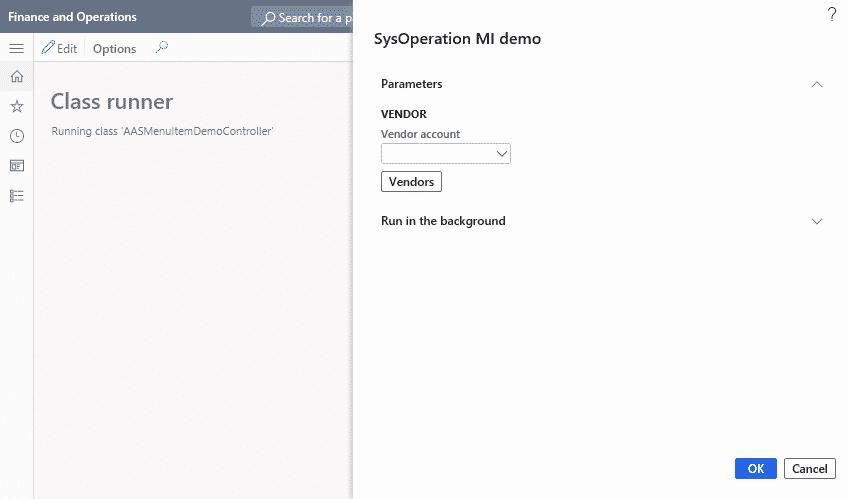 Añade un Menu Item a un diálogo de SysOperation 2
