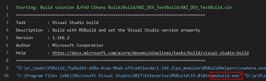 msbuild.exe builds C# projects and our X++ ones too!