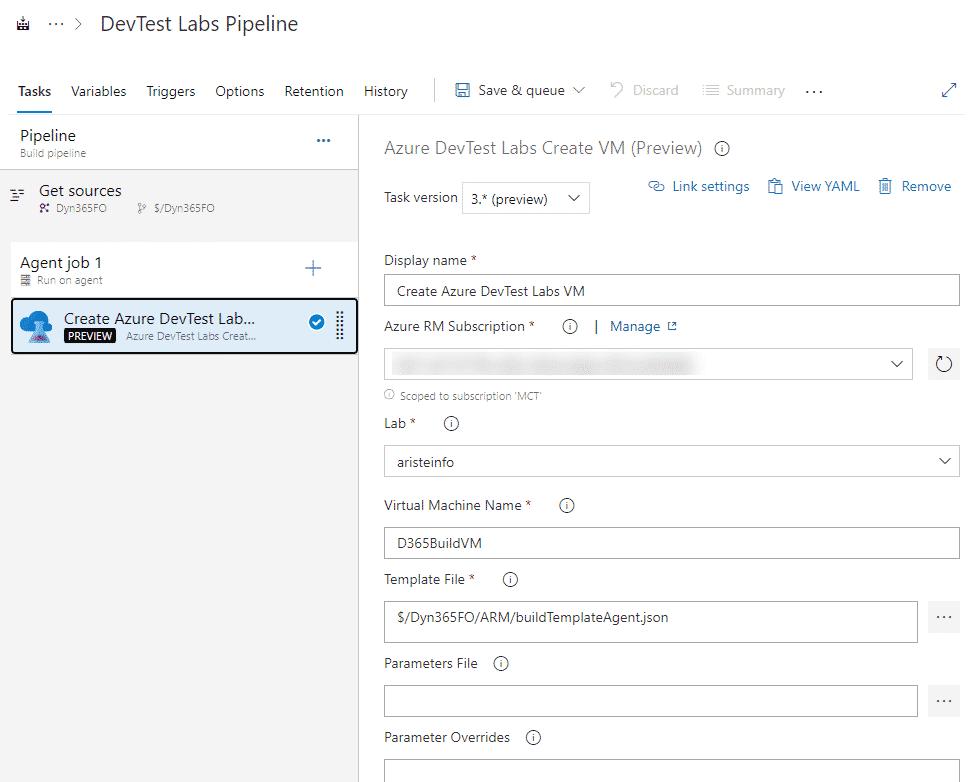 Create VM Azure DevTest Labs
