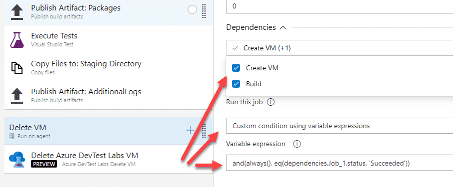 Dependencies and conditions on delete VM step