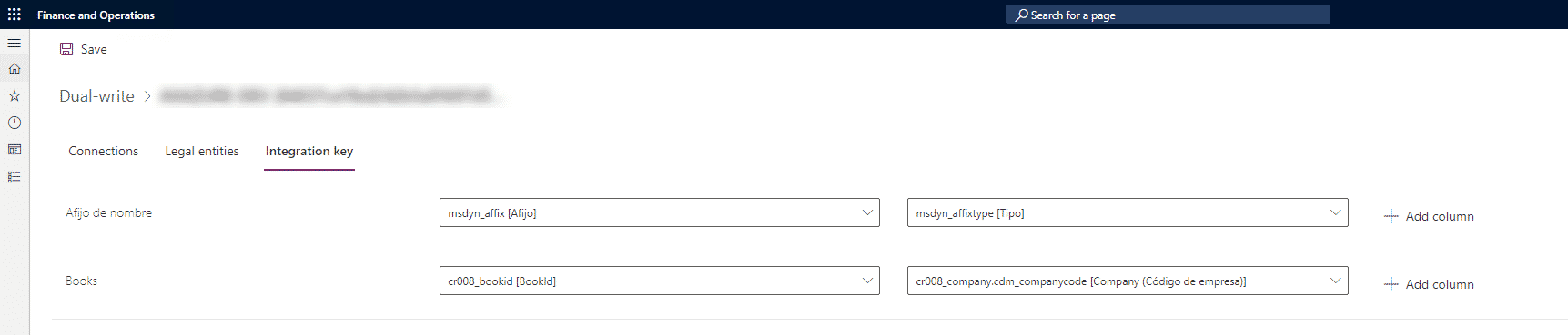 Dual/write integration key