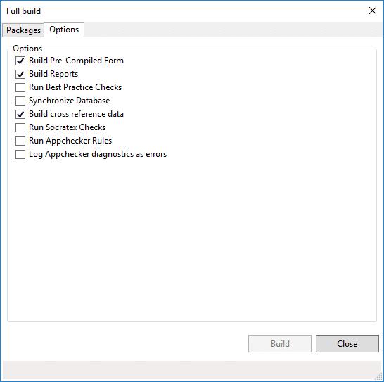 App checker en las opciones de compilar para Dynamics 365 en Visual Studio