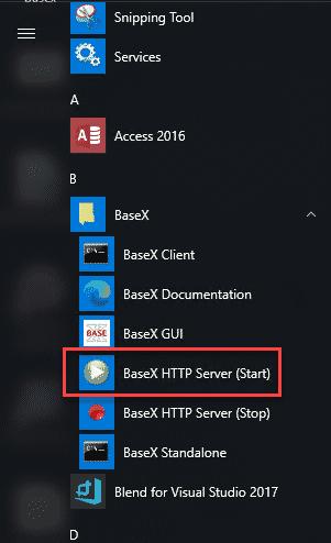 Iniciar el servidor de BaseX