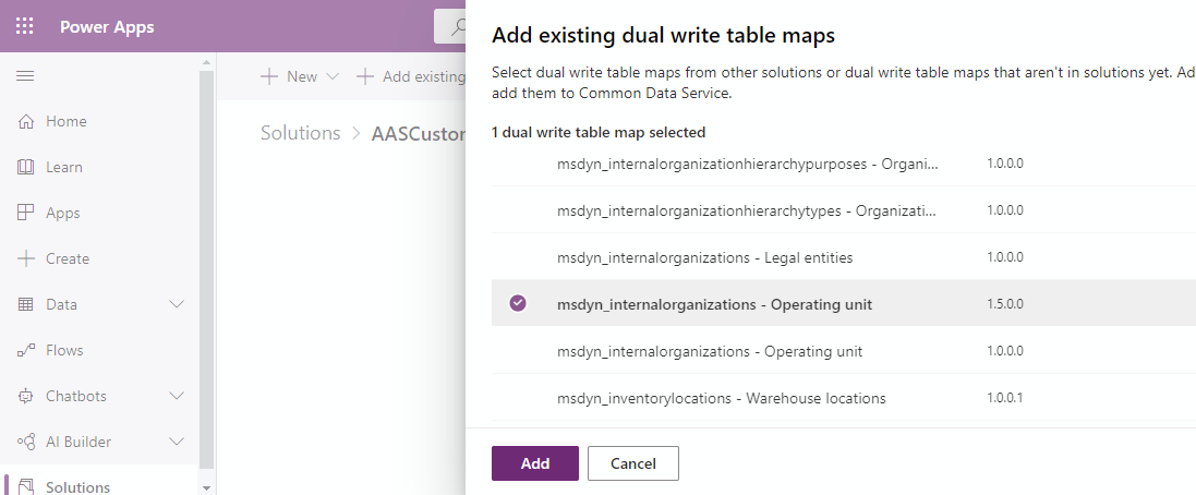 Dual-write table mappings