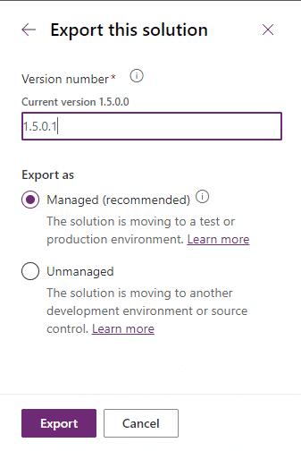 Export Dataverse solution
