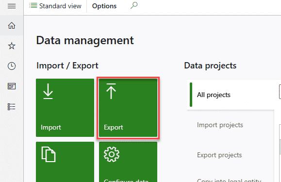 Exportar en el workspace de gestión de datos