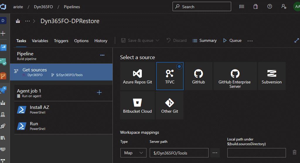 Carpeta Tools mapeada como la raíz de $(build.sourcesDirectory)